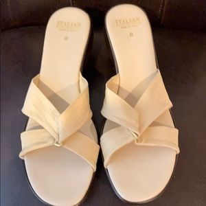 Italian Shoemakers Cream Slide on Sandals